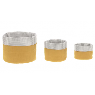 Lassig - lot de 3 paniers de rangement mousseline moutarde
