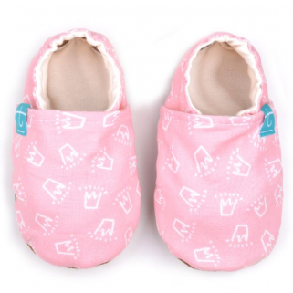 Titot- chaussons crowns on pink 0-3 m semelle camel