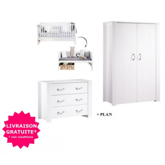 Sauthon - prix pack chambre seaside lit 70x140+commode+plan a langer+ armoire 2p