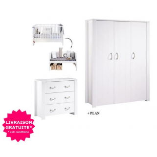 Sauthon - prix pack chambre seaside lit 70x140+commode+plan a langer+ armoire 3p