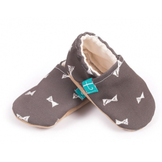 Titot- chaussons bow tie 0-3 m semelle coffe