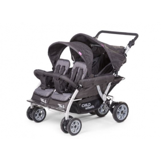 Childhome - quadruple 2 poussette anthracite 4 enfants + rc +sc