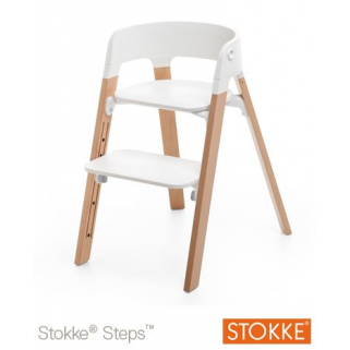 Stokke - chaise steps blanc/naturel