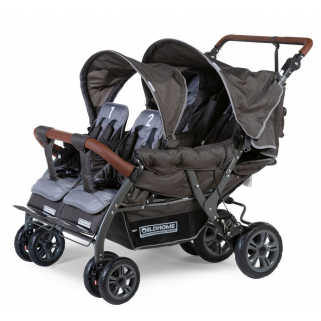 Childhome - poussette  quadruple autobrake anthracite 4 enfants + rc+sc