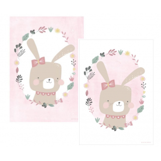 Little dutch - poster a3 rabbit - pink