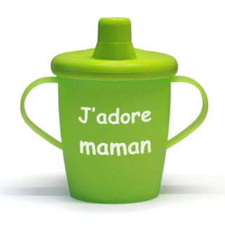 Limited-kiddyboo - love cups gobelet anti-fuite j'adore papa-j'adore maman lime