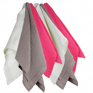 Trois kilos sept - lot de 6 langes 70x70 cm fushia/blanc/marron