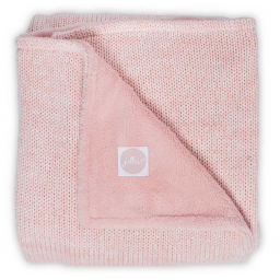 Jollein -  melange knit soft pink/coral fleece couverture 75x100cm