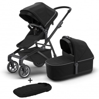 Poussette Thule Sleek Midnight Black on Black et sa nacelle