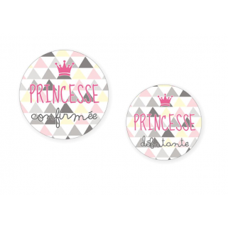 "Limited - bb&co - duo badges ""princesse"" mÈre&fille (45 mm + 38 mm)"