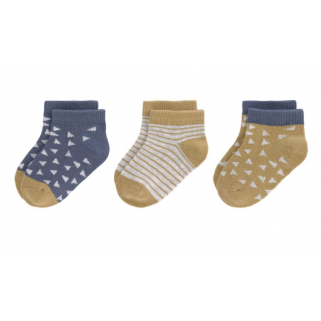 Cozy colors - chaussettes sneaker socks gots 3 pcs. Ass.  Curry/blue