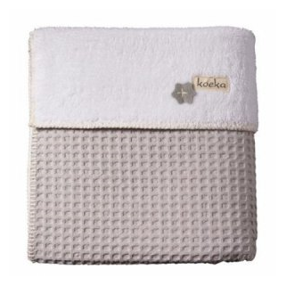 Limited- Couverture lit cage oslo teddy gris argent/blanc - Koeka