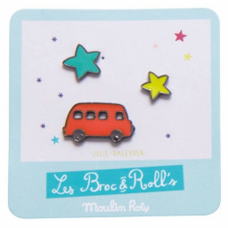 Limited - set de 3 pin's laqués - moulin roty - les broc'n rolls - Camion rouge