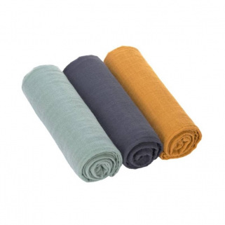 Lot de 3 essuies tetra swaddle & burp blanket l - Lassig