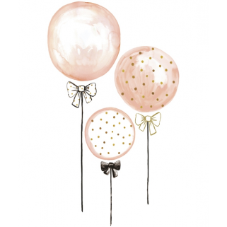 Limited - lilipinso - stickers 50x85cm ballons rose a pois dores