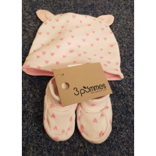 Limited - 3 pommes 18h -  bonnet chausson f welcome baby 3/6m