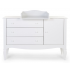 Childhome - romantic white commode 3 tiroirs + 1 porte + plan a langer