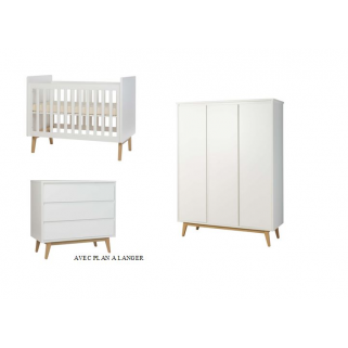 Pericles - prix pack chambre pure blanc lit 60x120+arm. 3p+commode+plan a langer