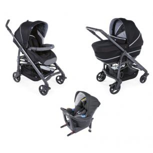 Chicco - pack promo trio poussette love up i-size pure black