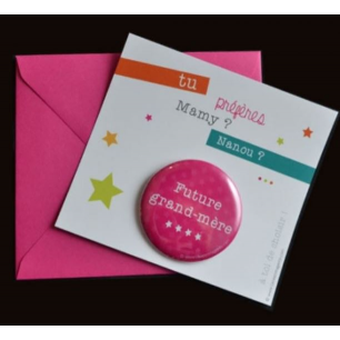 La vie en magenta - carte badge grand-mere