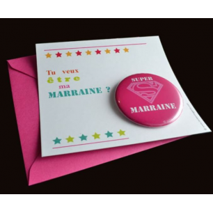 La vie en magenta - carte badge super marraine