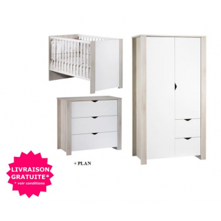 Sauthon - prix pack chambre tipee lit 60x120+commode+plan a langer+ armoire 2p
