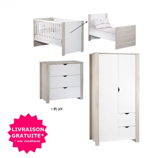 Sauthon - prix pack chambre tipee lit 70x140+commode+plan a langer+ armoire 2p