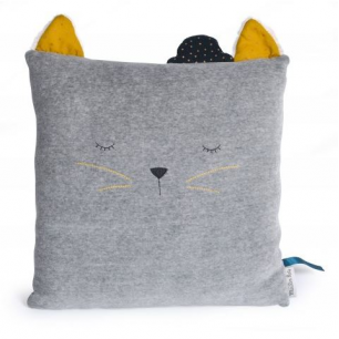 Moulin roty - les moustaches coussin chat gris clair