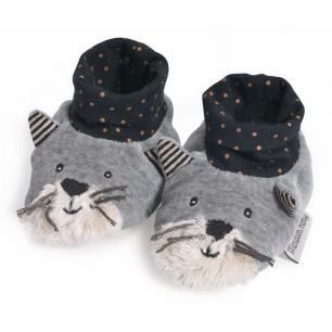 Moulin roty - les moustaches chaussons chat gris clair fernand