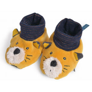 Moulin roty - les moustaches chaussons chat moutarde lulu