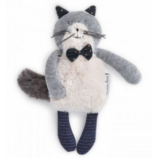 Moulin roty - les moustaches miniature chat gris clair fernand
