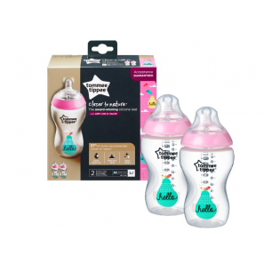 Tommee tippee - twin pack 340ml biberon ss bisphenol decor rose
