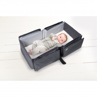 Doomoo basics - new baby travel grey sac de voyage convertible en couchage