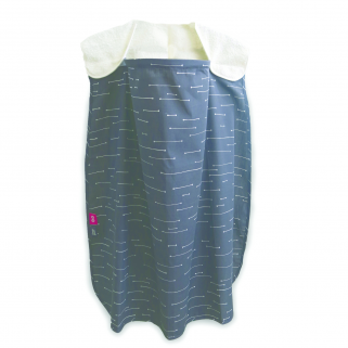 Simply goods - cape allaitement nursing cover duo ecru/gris fonce fleches