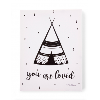 Childhome - cadre you are loved 30x40 noir&blanc peinture