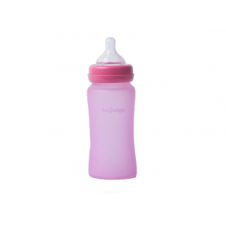 Bo jungle - biberon verre silicone 240ml rose