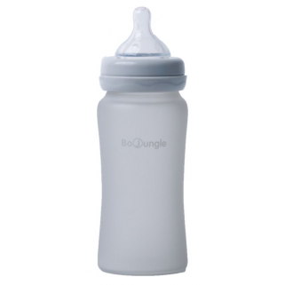 Bo jungle - biberon verre silicone 240ml gris