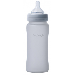 Bo jungle - biberon verre silicone 300ml gris