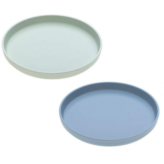 Lassig - set de 2 assiettes uni mint/blueberry