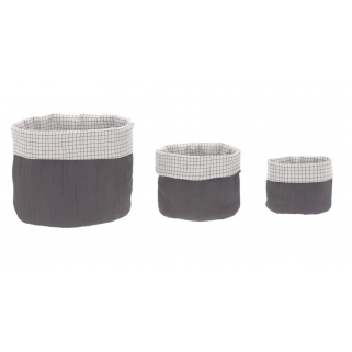 Lassig - lot de 3 paniers de rangement mousseline anthracite